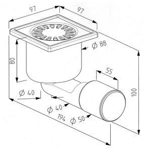 SIPHON DE SOL INOX 10 X 10 CM