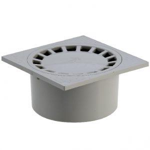 SIPHON DE COUR À EMBOÎTURE INCORPORÉE VERTICALE – GRIS – 150 x 150 – PVC