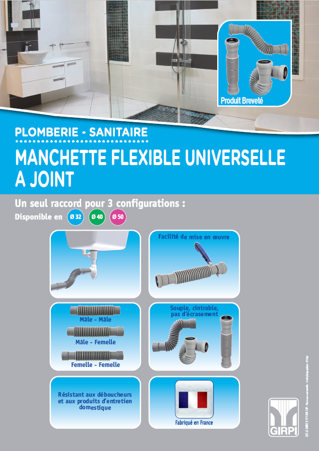 Manchette flexible universelle a joint ou a coller