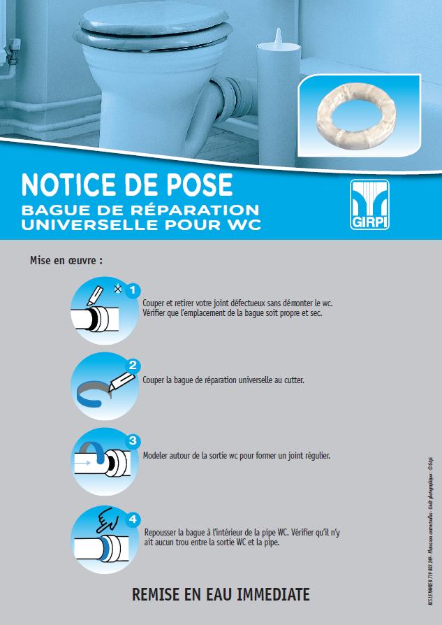 Notice de pose – Unibague, bague de réparation universelle pour WC