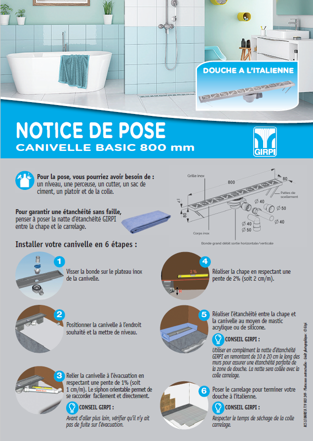Notice de pose –  canivelle basic 800 mm
