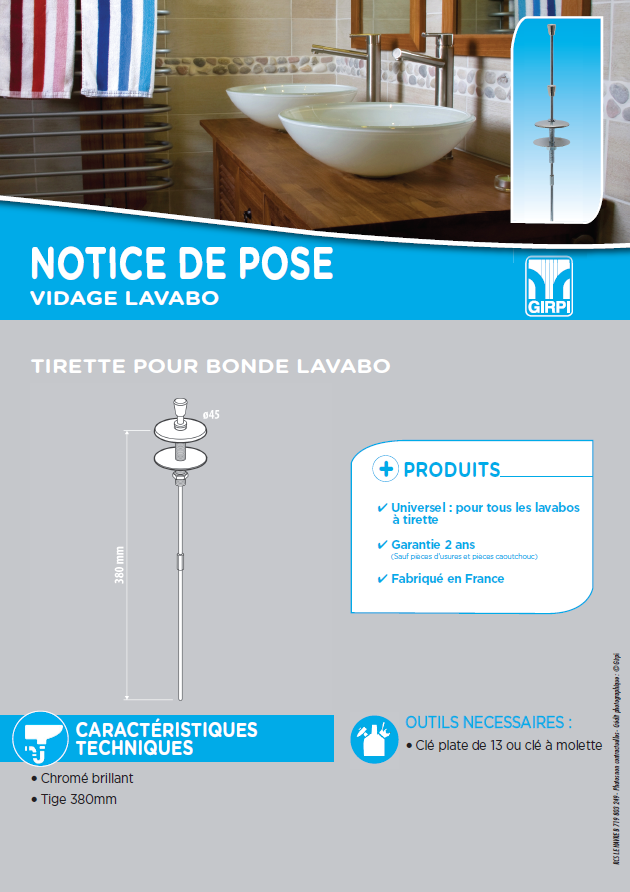 Notice de pose bonde a tirette lavabo