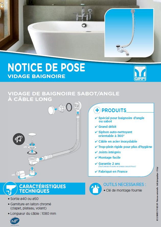 Notice de pose vidage spécial baignoire