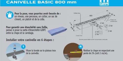Notice de pose -  canivelle basic 800 mm
